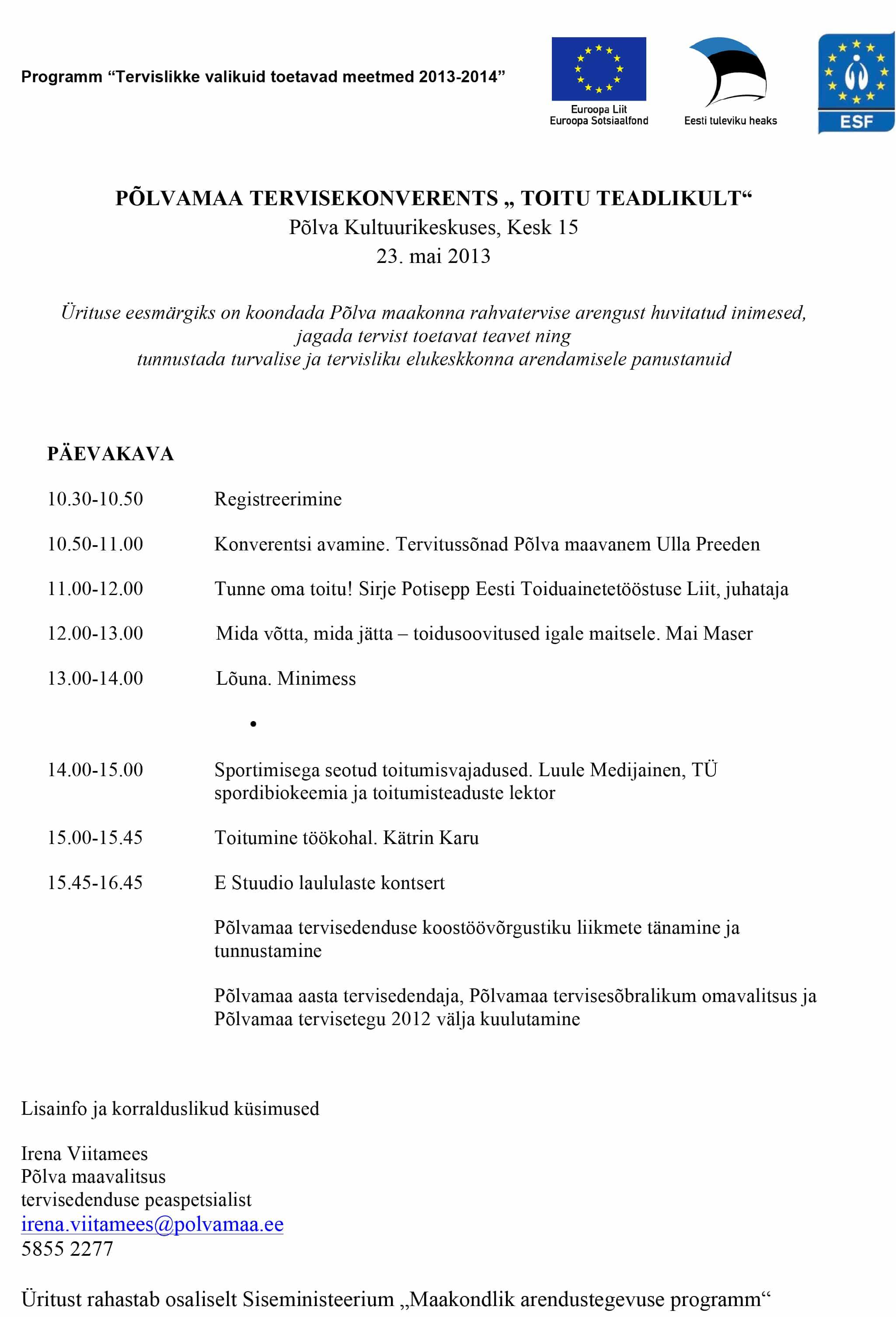 Tervisekonverentsi-päevakava