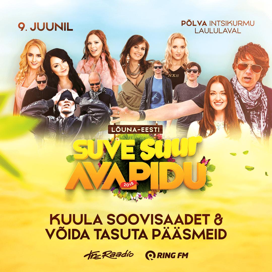 Lõuna-Eesti suve suur avapidu 9. juunil Põlva Intsikurmu laululava - mini plakat